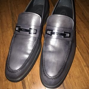 Perfect gray TOD's men's leather loafers 11m/ NWOB